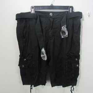 Blu Rock Men's Belted Cargo Shorts black W36